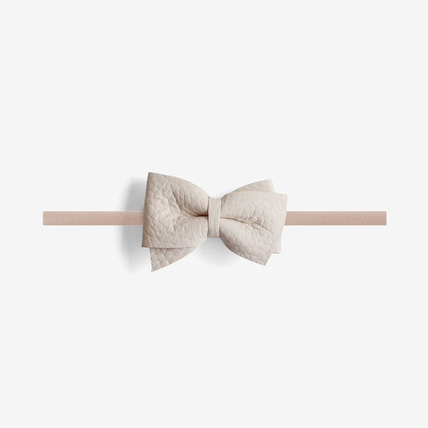 Blaire Petite Leather Bow Headband - Oat