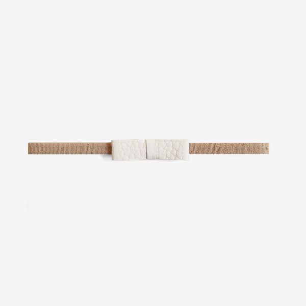 Blake Petite Leather Bow Headband - Oat