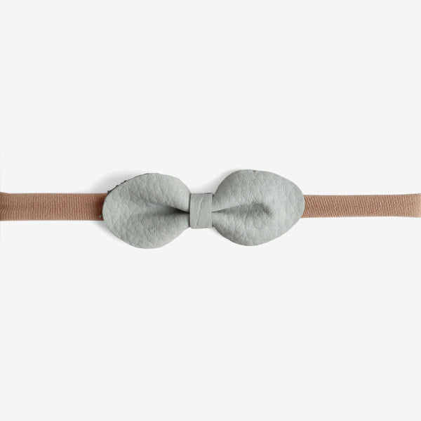Brooke Leather Bow Headband - Cornflower