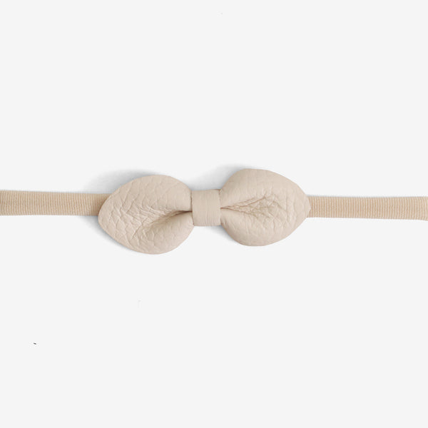 Brooke Leather Bow Headband - Salt