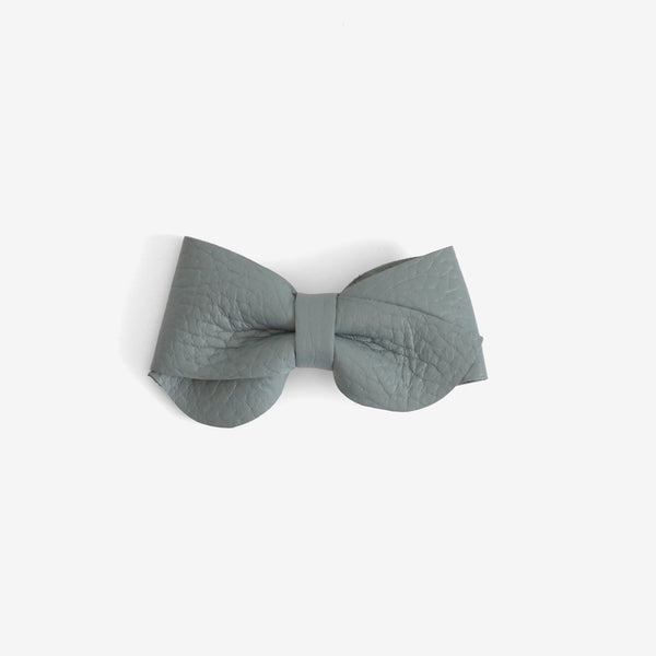 Emmie Leather Bow Clip - Dew