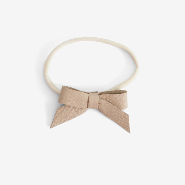 Anne Leather Bow Headband - Fawn