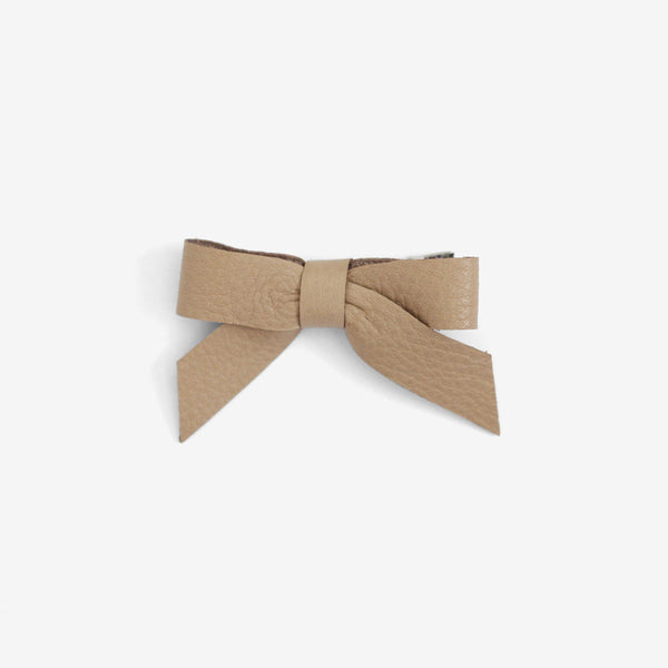 Anne Leather Bow Clip - Fawn