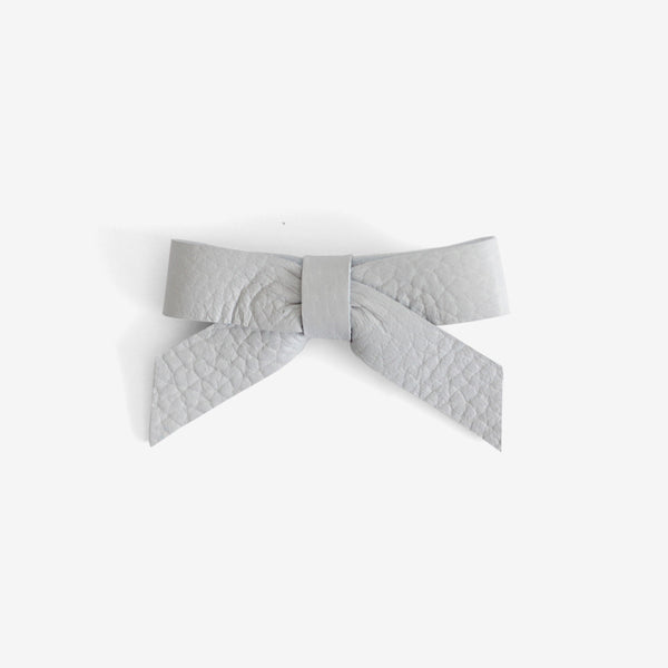 Anne Leather Bow Clip - Fog