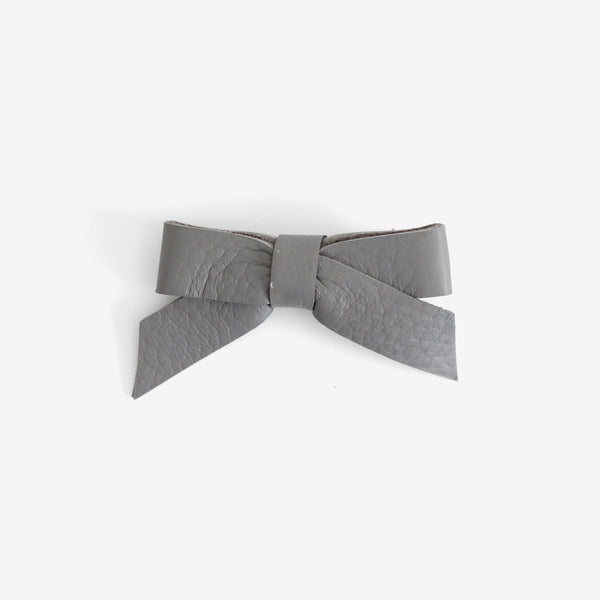 Anne Leather Bow Clip - Shadow