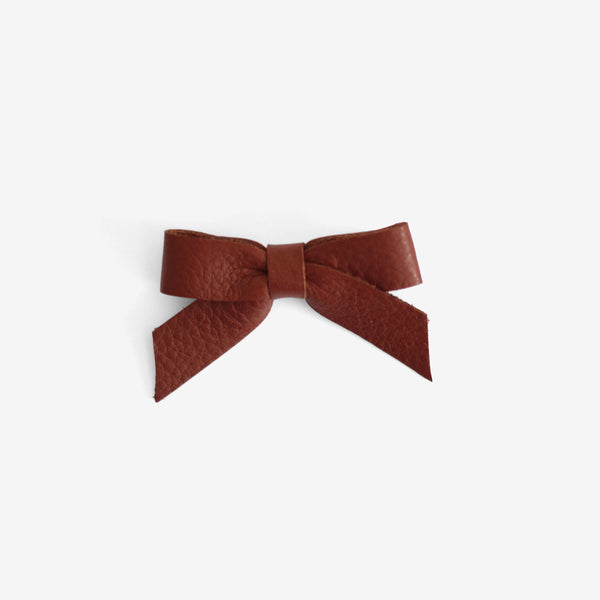 Anne Leather Bow Clip - Ochre