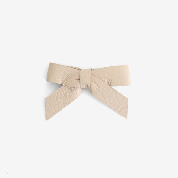 Anne Leather Bow Clip - Sand