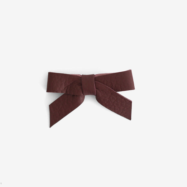 Anne Leather Bow Clip - Storm