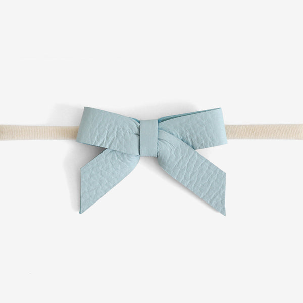 Anne Leather Bow Headband - Blue Mist