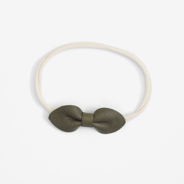 Brooke Leather Bow Headband - Agave