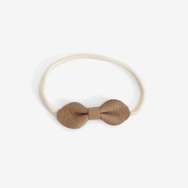 Brooke Leather Bow Headband - Fawn
