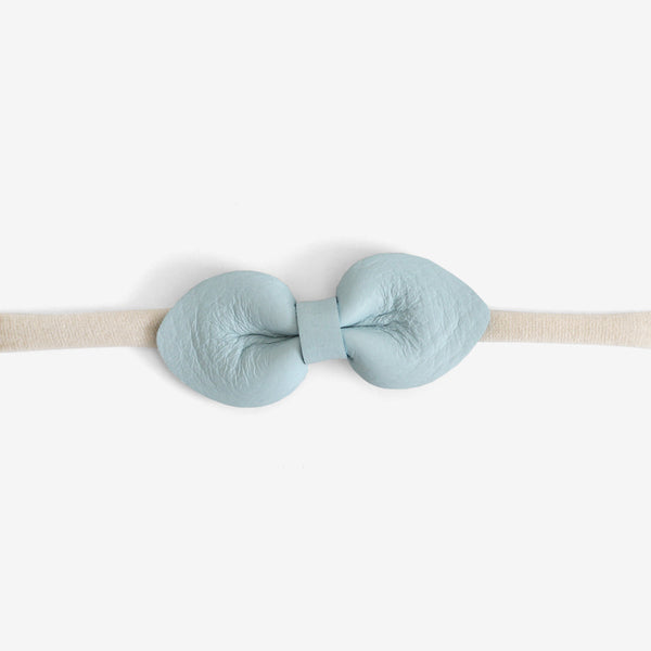 Brooke Leather Bow Headband - Blue Mist