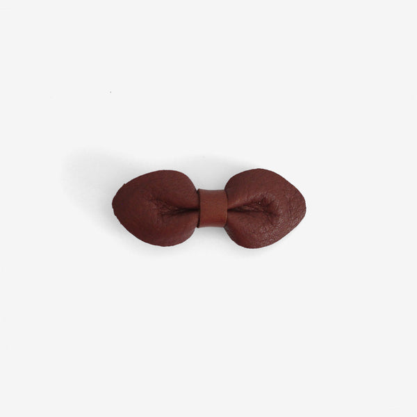 Brooke Leather Bow Clip - Ochre