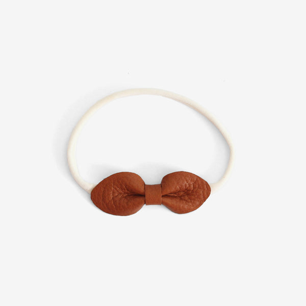 Brooke Leather Bow Headband - terra cotta