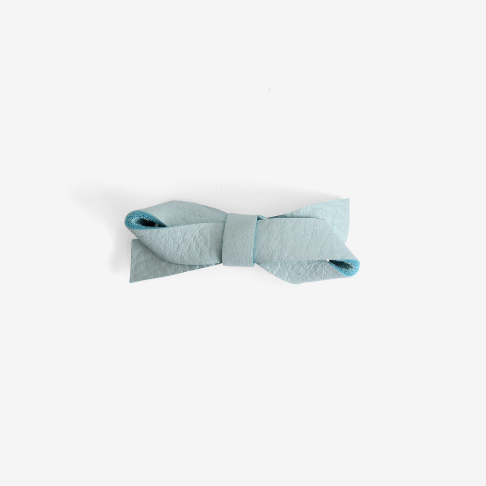 Carlee Leather Bow Clip - Blue Mist