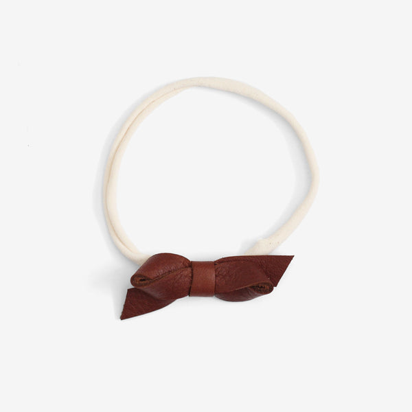 Carlee Petite Leather Bow Headband - Ochre