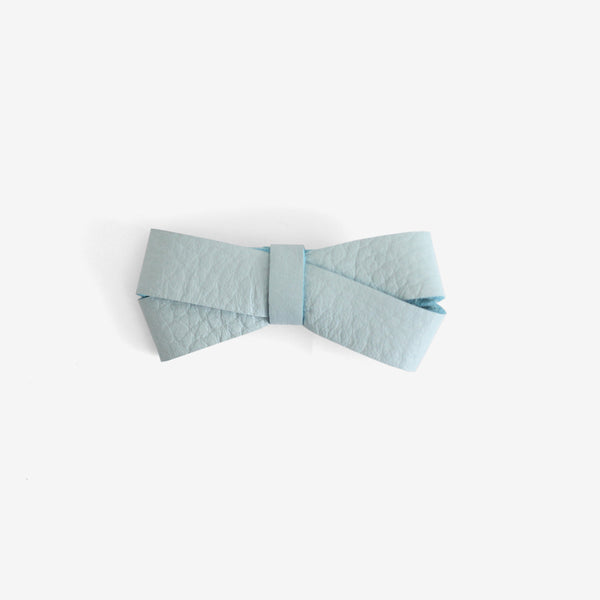 Kylie Leather Bow Clip - Blue Mist