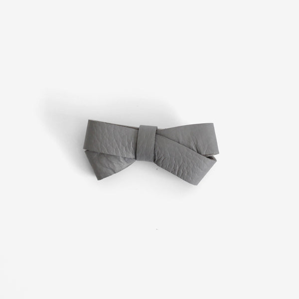 Kylie Leather Bow Clip - Shadow