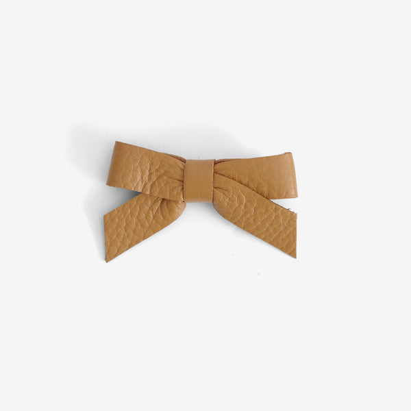Anne Leather Bow Clip - Amber