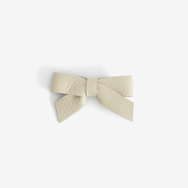 Anne Leather Bow Clip - Cotton