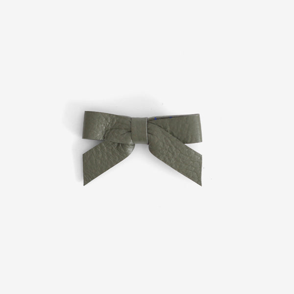 Anne Leather Bow Clip - Moss