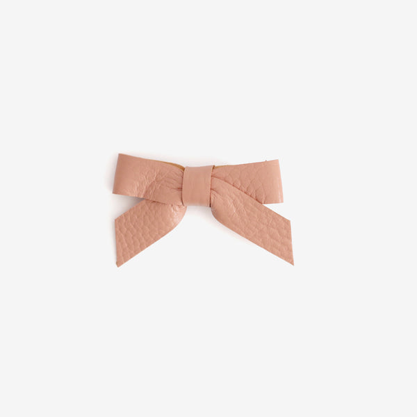 Anne Leather Bow Clip - Salmon