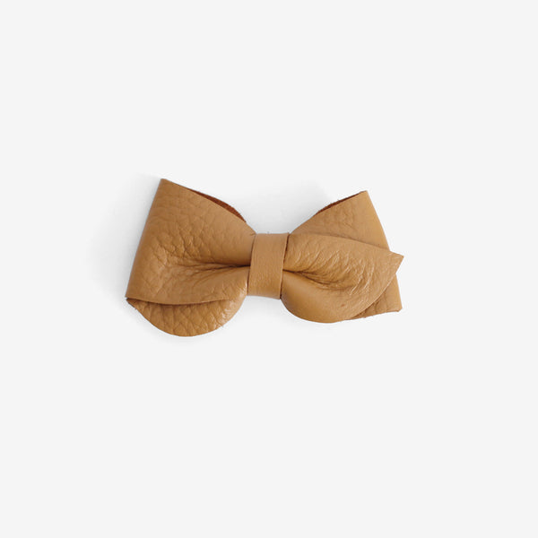 Emmie Leather Bow Clip - Amber