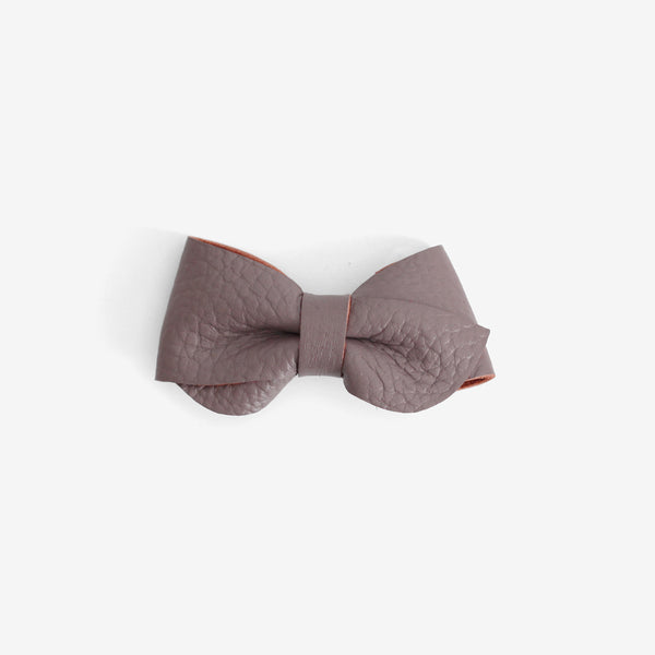 Emmie Leather Bow Clip - Heather