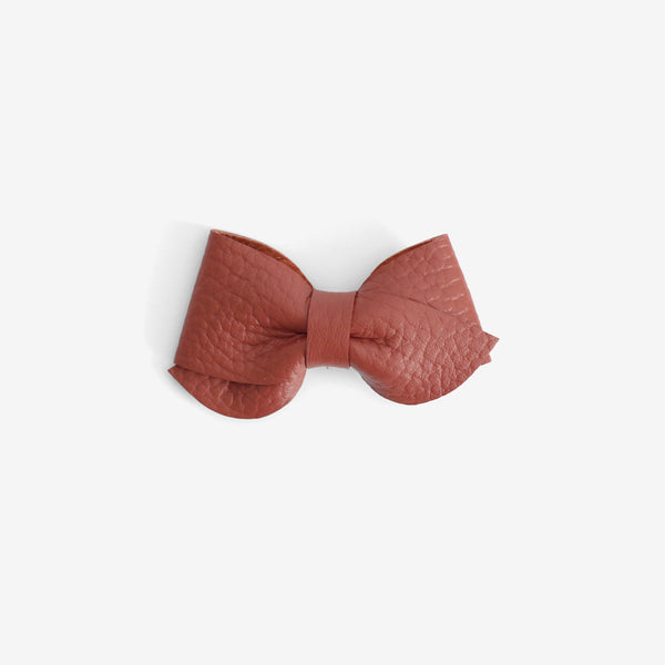 Emmie Leather Bow Clip - Spice