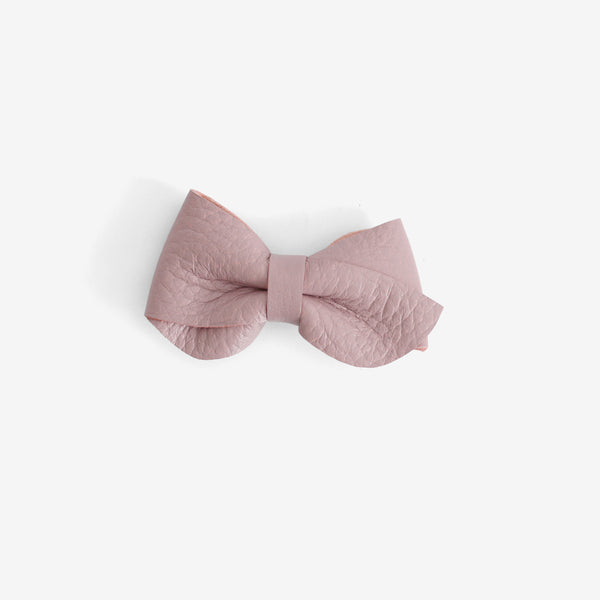 Emmie Leather Bow Clip - Thistle