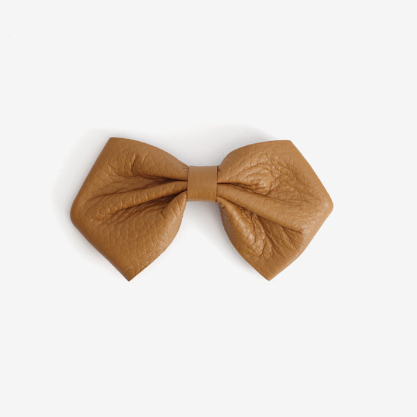 Harlowe Slouchy Leather Bow Clip - Amber