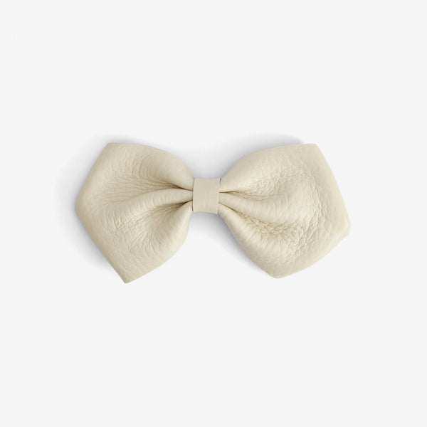Harlowe Slouchy Leather Bow Clip - Cotton