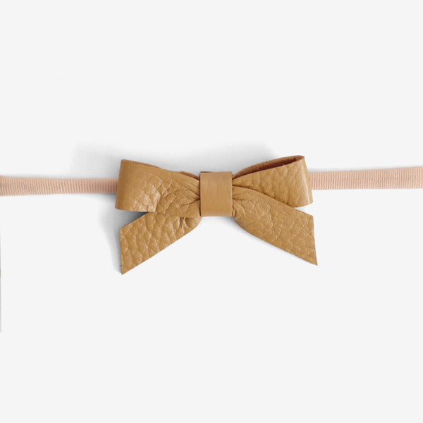 Anne Leather Bow Headband - Amber