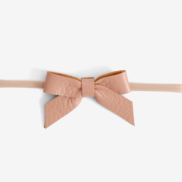 Anne Leather Bow Headband - Salmon