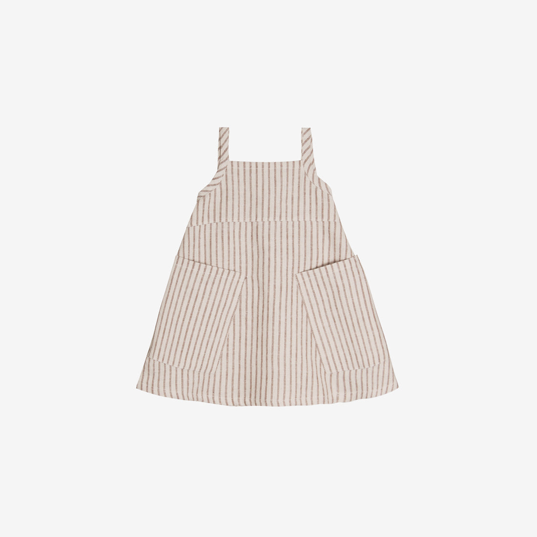 Organic Broadcloth Apron Dress - Hazelnut Stripe