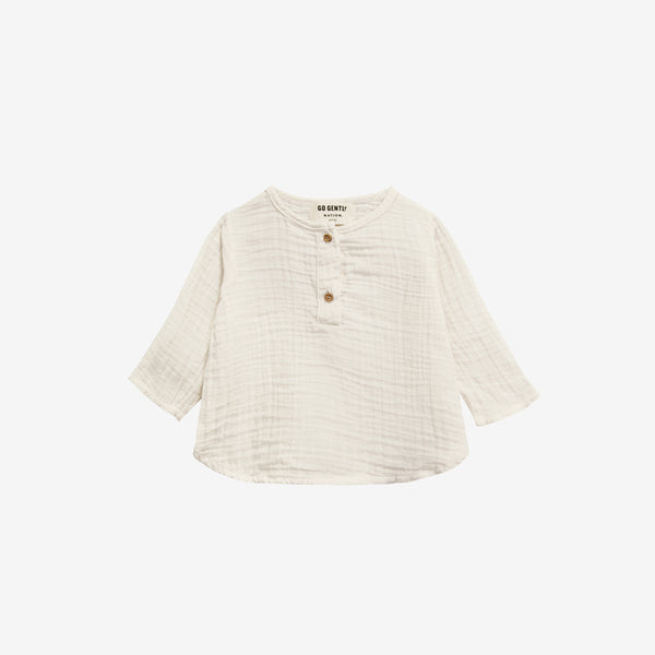 Organic Double Gauze Placket Top - Natural