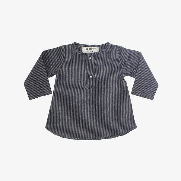 Navy Stripe Organic Placket Top