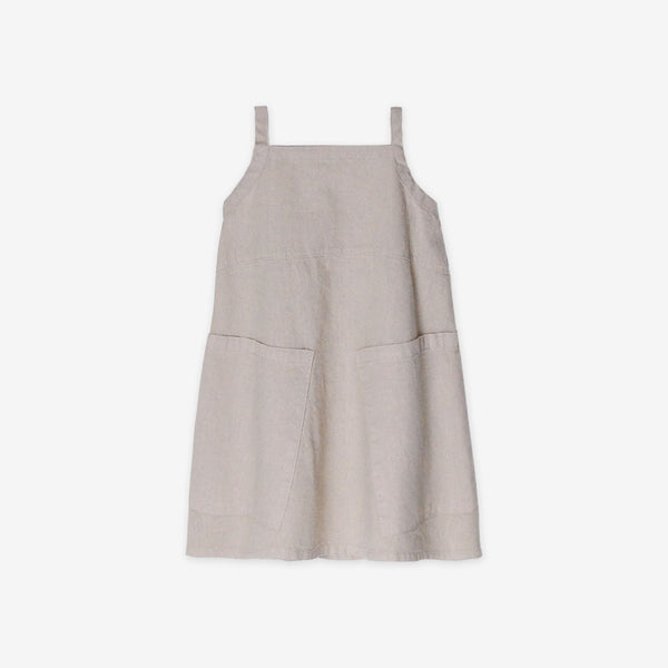 Organic Broadcloth Apron Dress - Sandstone