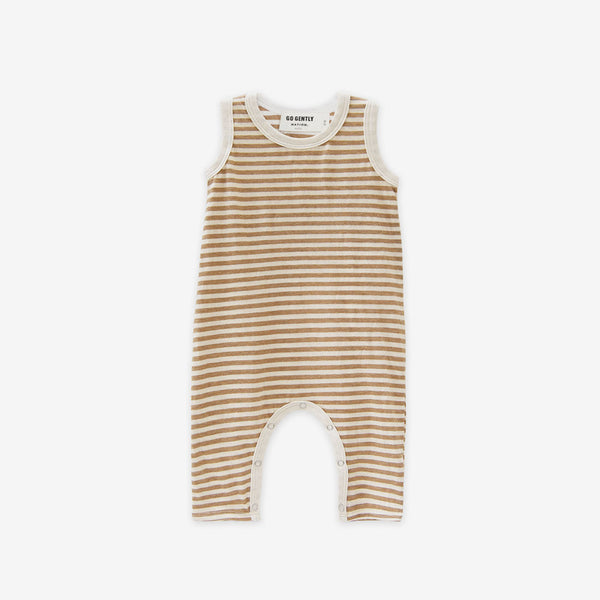 Organic Jersey Long Romper - Tan Stripe