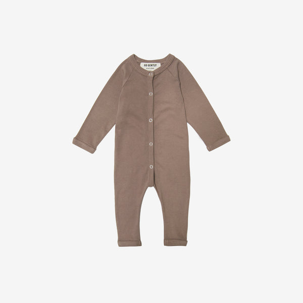 Organic Rib Button-front Romper - Mud