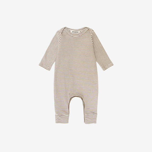 Organic Rib Lap-Shoulder Romper - Mud Stripe