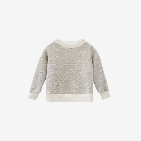 Organic Textured Baby Crewneck Sweatshirt - Natural