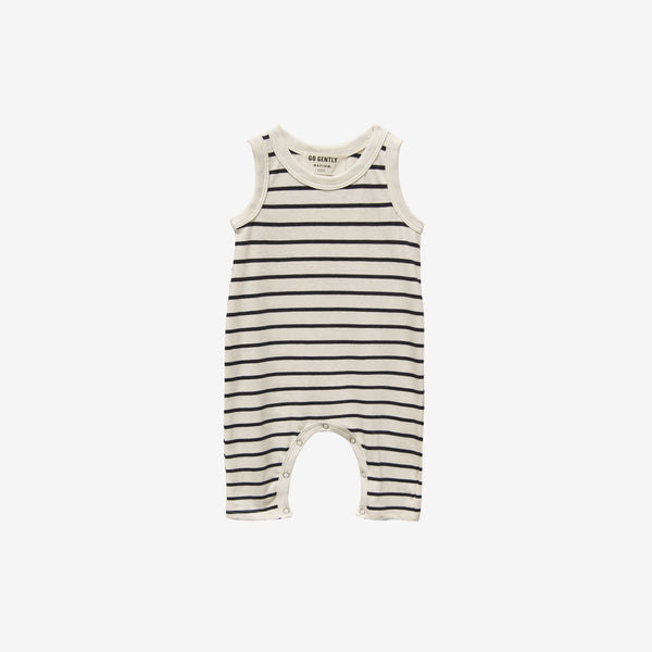Organic Jersey Long Romper - Navy Stripe