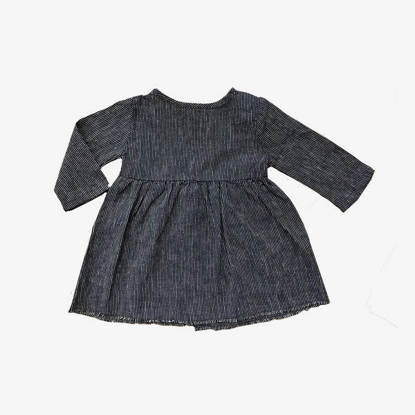 Short Organic Prairie Dress - Navy Stripe