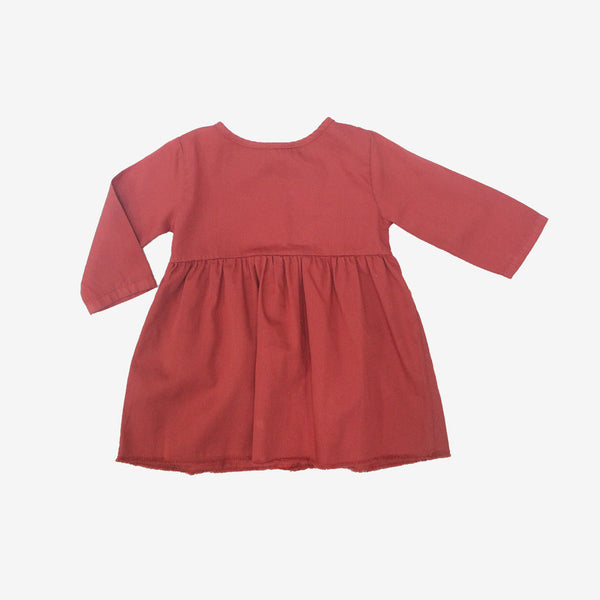 Short Organic Prairie Dress - Soft Red