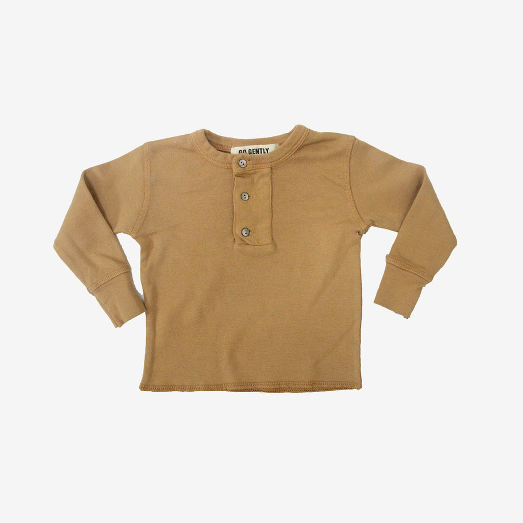 Wide Placket Organic Rib Henley - Flax