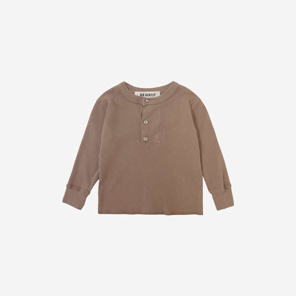 Wide Placket Organic Rib Henley - Mud