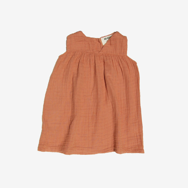 Organic Empire Gauze Dress - Terracotta