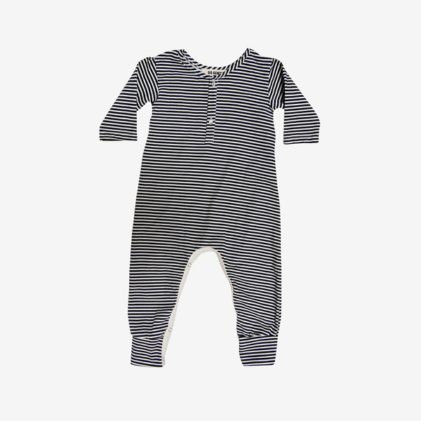 Organic Henley Jumpsuit in Navy Stripes