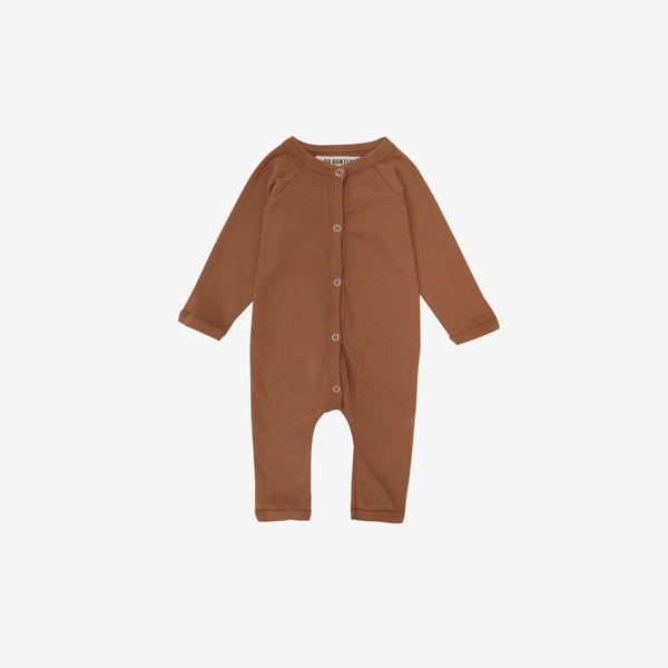 Organic Jersey Snap Down Romper - Clay